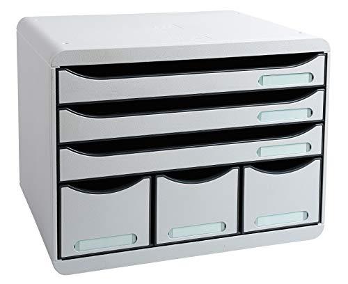 Exacompta 306740D Storebox Office mit 6 Schubladen / Stapelbare Schubladenbox im Querformat für mehr Platz auf dem Schreibtisch in Lichtgrau