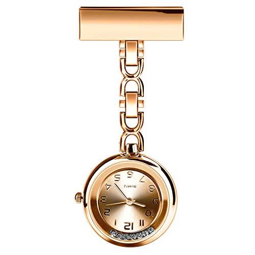 Anpress Reloj de enfermera Paramédico Doctor Pocket Watches Flow Diamond de cuarzo solapa Pin Clip Clip Colgante Médico Broche Fobo Reloj