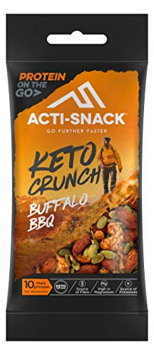 ACTI-SNACK Buffalo BBQ Keto Crunch. Sports Nutrition Snacks. Buffalo BBQ Almonds, Cashews & Tamari Pumpkin Seeds. Keto Certified. High in Plant Protein. Vegan. 12 x 40g
