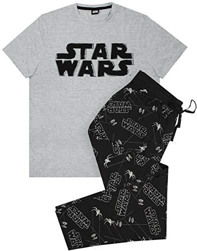 Star Wars Distressed Logo - Conjunto de Pijama para Hombre y Camiseta Gris
