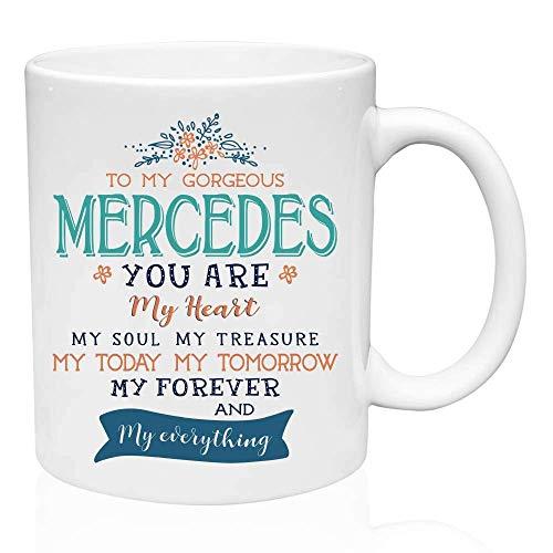 Eastlif Regalos del día de San Valentín para Ella - para mi Hermoso Mercedes Eres mi corazón Mi Alma Mi Tesoro Mi Hoy Mi mañana Mi para Siempre - Regalos de cumpleaños para Esposa, Taz