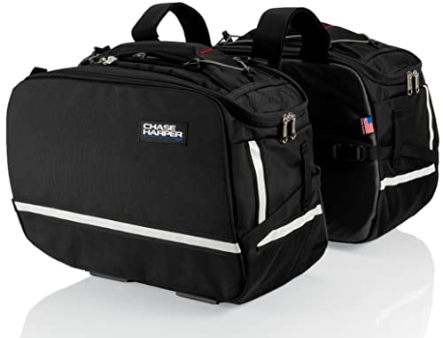 "Chase Harper USA 3550 Aeropac II Saddle Bags - Water-Resistant, Industrial Grade Ballistic Nylon w/Thermoplastic Insert, Anti-Scratch Vinyl on Inward Facing Wall, 14"" L x 9"" W x 10.5"" H (Per Side)"