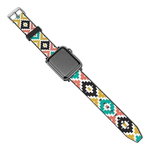 La última correa de reloj compatible con Apple Watch Band 38 mm 40 mm Correa de repuesto para iWatch Series 5/4/3/2/1, diseño tribal azteca mexicana Ikat