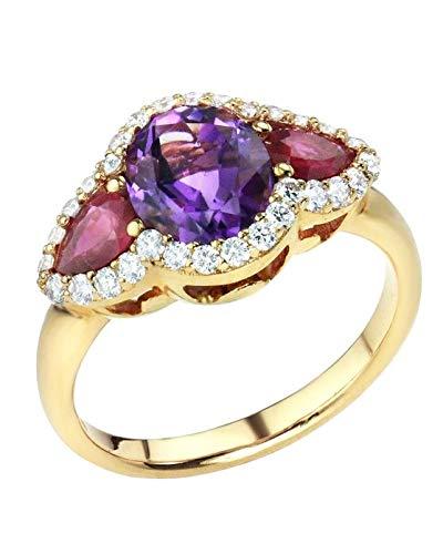 Anillo 18ct Oro rosa con Diamantes, Amatista y Rubies