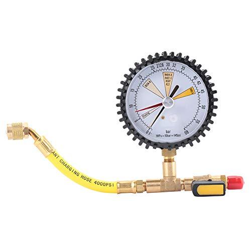 Jopwkuin Medidor de presión de neumáticos Profesional para Aire Acondicionado/refrigerante/Coche Manómetro Digital de presión de Aire con Protector de Goma Protectora para R134a, R22, R407C, R410A