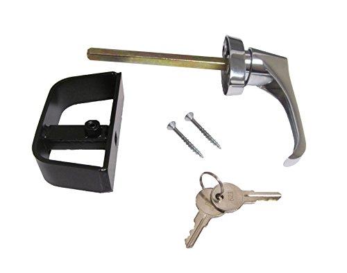 L Door Handle Chrome 4-1/2' W/Back HandleOff Center Shaft Shed Door Lock Barn Door Handle