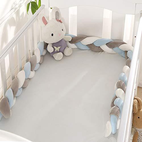 VIVILINEN 2M Bettumrandung Baby Nestchen Geflochten Bettschlange Babybett Stoßstange Kantenschutz Kopfschutz Dekoration für Krippe Kinderbett (Grau&Blau)