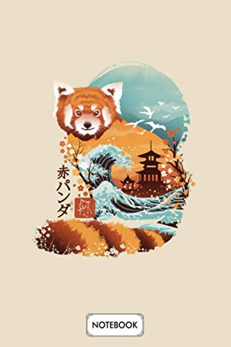 Ukiyo E Red Panda Notebook: Journal, Matte Finish Cover, Planner, 6x9 120 Pages, Lined College Ruled Paper, Diary
