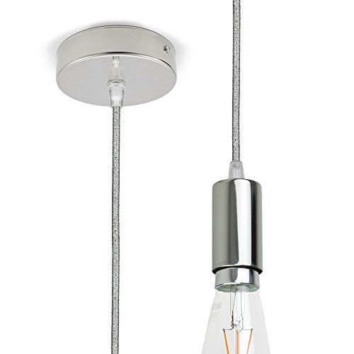 CD Cables-Lampada Sospion, slinger verchroomd, textielkabel Lamé zilver 1 meter