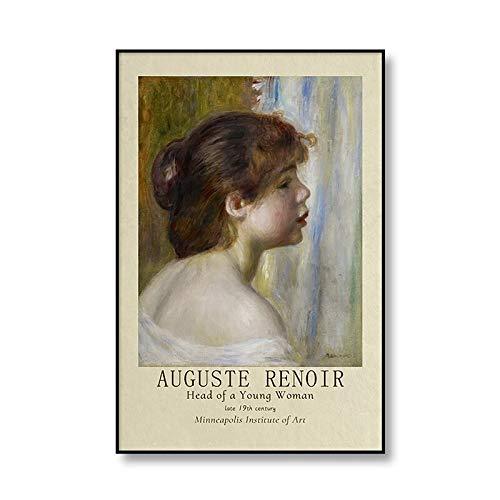 Pintura al óleo famosa de August Renoir, póster de personajes, impresión en lienzo, exposición antigua, pintura en lienzo sin marco, A4, 50x75cm
