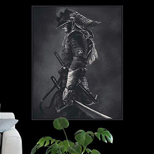 Geiqianjiumai Modernes abstraktes Segeltuchmalerei-Wandhauptdekorationsplakat und -Druck der Samurais