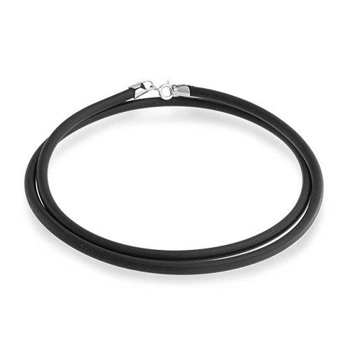 Bling Jewelry Schwarzer Gummi Halskette Anhänger Schnur Für Frauen Für Männer Teen Silber Vergoldet Hummer Kralle Verschluss 20 Zoll