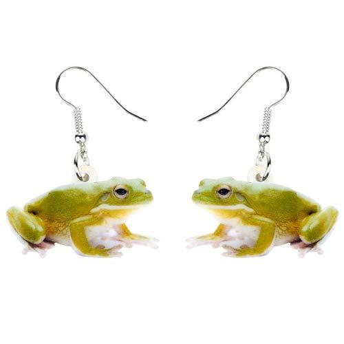 NA - Pendientes acrílicos con diseño de rana, color verde