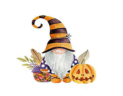 MQPPE Halloween 5D DIY Diamond Painting Kits, Gnome Pumpkin Candies Watercolor Autumn Candy Cartoon Full Drill Painting Arts Set Craft Canvas for Home Wall Decor Adults Kids, 16' x 20'