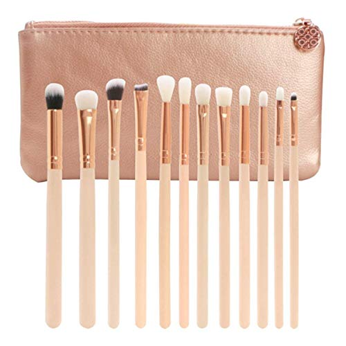 Brosse de maquillage Set Pinceau de maquillage 12 pcs pinceau for les yeux professionnel et Maquillage for fard à paupières sourcil eyeliner anti-cernes, kit de brosse à plis, fibres synthétiques, sac