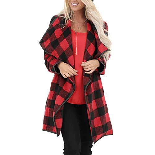 Daysing Damen Cardigan Strickjacke, Langer Wollmantel Lässig Roter Wintermantel mit Schottenmuster Fashion Street Jacket Wind Jacket