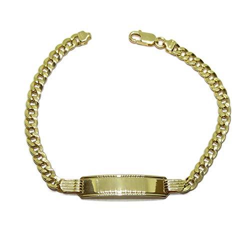 Pulsera para hombre o cadete de oro amarillo de 18k con placa y barbada de 5mm de ancha, largo 20.00cm. 100% personalizable. Cierre mosquetón de seguridad. 8.20gr de oro de 18k