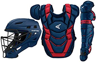 Easton Elite X Baseball Catchers Equipment Box Set   Youth   Navy/Red   2020   Small Helmet   Chest Protector + Commotio Cordis Foam   Leg Guards   NOCSAE Approved All Play Levels