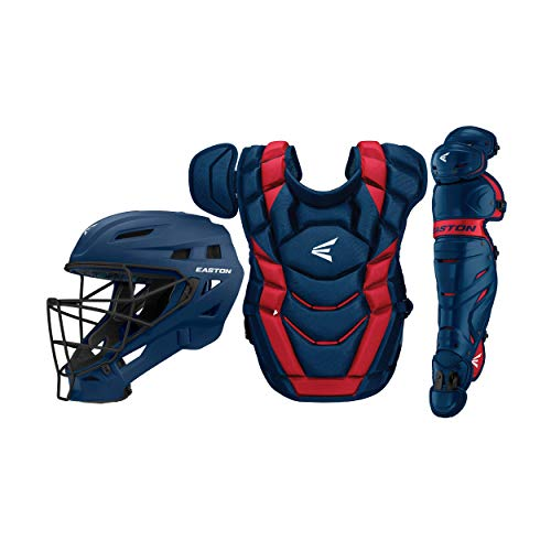 Easton Elite X Baseball Catchers Equipment Box Set | Youth | Navy/Red | 2020 | Small Helmet | Chest Protector + Commotio Cordis Foam | Leg Guards | NOCSAE Approved All Play Levels
