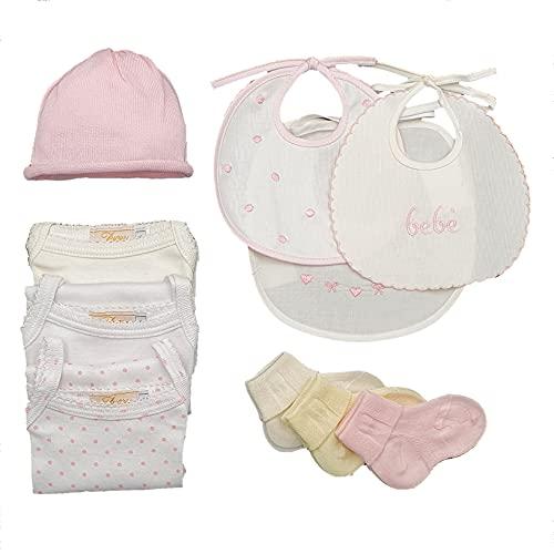 Corredino de bebé para nacimiento, hospital, completo, fabricado en Italia, de algodón, gorro y calcetines, babero Juego de 10 unidades Talla única