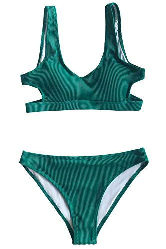 CUPSHE Women's Emerald Velvet Solid Backless Bikini with Cutout, L