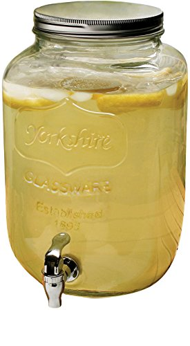 Circleware 06900 Sun Tea Mason Jar Glass Beverage Dispenser with Metal Lid Glassware for Water, Juice, Beer, Wine, Liquor, Kombucha Iced Punch and Best Cold Drinks, Classic, Yorkshire Huge 2 Gallon