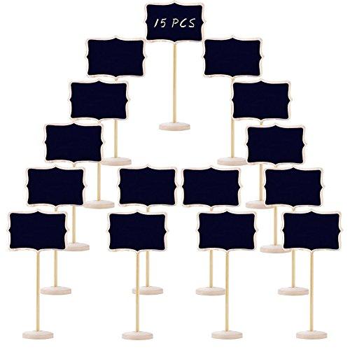 Woohome 15 Pz Mini Pizarra con Soporte Tablero de Madera Tablero de Notas Decoración de Hogar para La Decoración de Restaurantes, Bodas, Banquetes