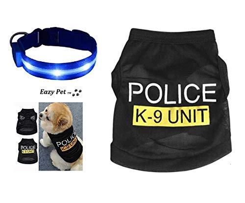 Costume da Poliziotto per Cani di Taglia Media, con luci Blu a LED Lampeggianti K9 Unit 999