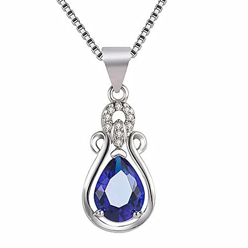Collares con colgante de piedras preciosas de diamantes de circonita de cristal azul para mujer, gargantilla de Color oro blanco, jarrón Vintage, joyería, regalos