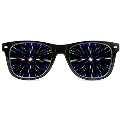 GloFX Ultimate Diffraction Glasses - Black - 3D Prism Effect EDM Rainbow,Black,
