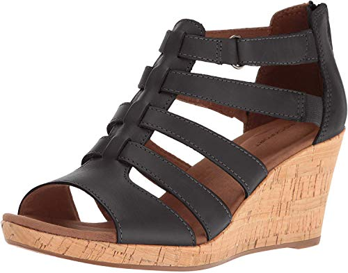 Rockport Women's Briah Gladiator Wedge Sandal, Black Leather, 8 M US