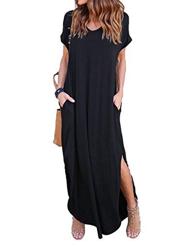 ZANZEA Damen V-Ausschnitt Kurzarm Strand Sommerkleid langes Abendkleid mit Tasche Black 5XL