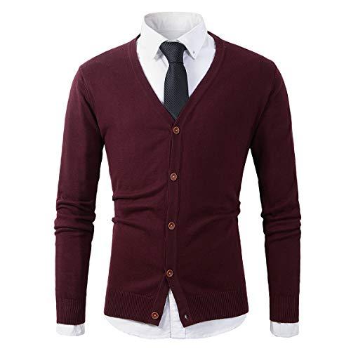 Beninos Mens Casual Slim Fit Basic Designed Button Down V-Neck Cardigan (055 Burgundy, M)