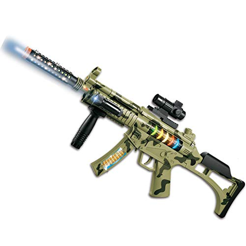 M-16 Camouflage Military Toy Machine Gun Army Rifle with Lights Sounds Vibration for Kids Pretend Play (30')