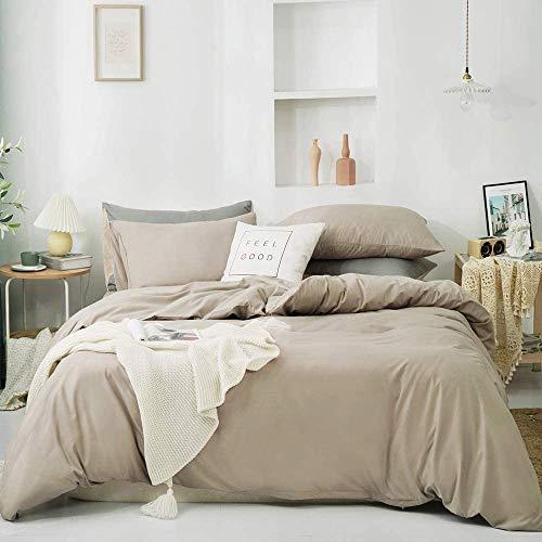 CoutureBridal Ropa de cama de 135 x 200 cm, 4 piezas, color caqui, lisa, transpirable, suave microfibra, monocolor, 2 fundas nórdicas con cremallera y 2 fundas de almohada de 80 x 80 cm
