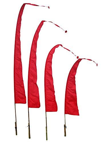DEKOVALENZ Balifahnen-Stoff SANUR |mit herzförmiger Spitze | Umbul Asien-Fahnen | Fahnenlänge: 3 Meter | Farbe: Rot