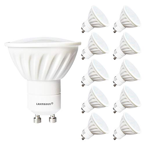 LAMPAOUS led GU10 4W Warmweiss Lampe Leuchtmittel Spots gu10 led Ersatz für 40 Watt bis 45 Watt Halogenlampen 20SMD Keramik Milchglas Abdeckung 400lm 230V AC 10er Pack