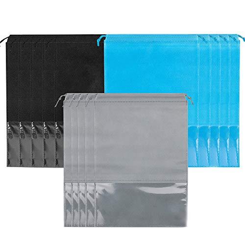 JUN-H 15 Stück Staubdicht Schuhsack mit Fenster Schuhbeutel mit Zugband für Sport, Camping, Reisen Travel Aufbewahrungsbeutel(Schwarz, blau, grau)