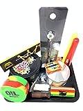 Black Leaf Rolling Tray Set [Cigarette - Stash - Travel] inc. Violet Glass Jar and Smoking Essentials