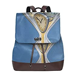 Women's leather backpack,Hourglass Time Clocks With Sand Decorations For Home A Vintage Design,School Travel Girls Ladies Rucksack