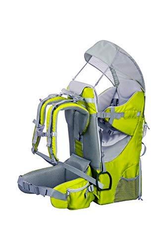 Zaino Porta Bambino Portabebè Ergonomico imbottito, protezione solare, cintura, trekking montagna (Verde)