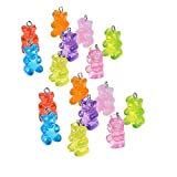 WAYEES Life Size Yummy Gummy Bear Charm Beads with Hook Resin Candy Charms Pendants DIY Keychain Necklace Earrings Decoration Bracelets for Child Girl Scout SWAPS
