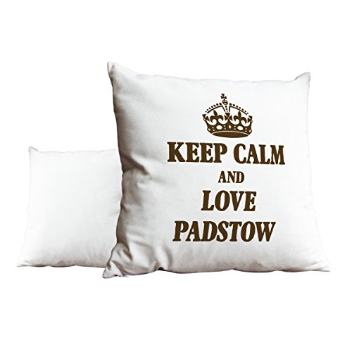 Duke Gifts Brown Keep Calm and Love Padstow White Scatter Pillow 480