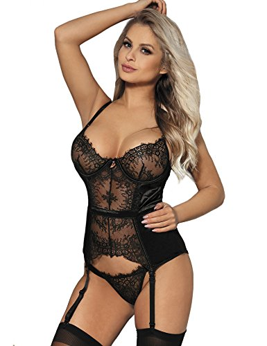 ohyeahlady Gater Belt Estivi Reggicalze Regolabili Scolla V con Ferretto in Pizzo Babydoll Sexy Hot Grande Size Push Up con Pelizoma Biancheria Intima(Nero,5XL)