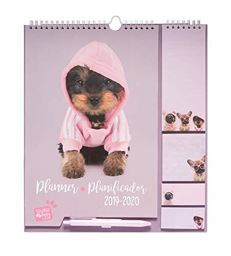 Erik® - Calendario da muro con Planner Mensile 2019/2020. Family Planner da 16 mesi, 16,5x20 cm - Studio Pets Dog
