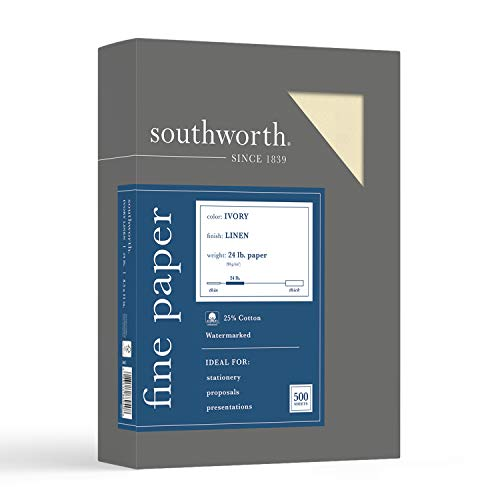 "Southworth 25% Cotton Business Paper, 8.5"" x 11"", 24 lb/90 gsm, Linen Finish, Ivory, 500 Sheets - Packaging May Vary (564C)"