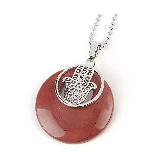 Colgante de cristal de piedra de círculo natural Fatima Hamsa colgantes de palma de mano collares joyería protectora de amuleto para mujeres hombres
