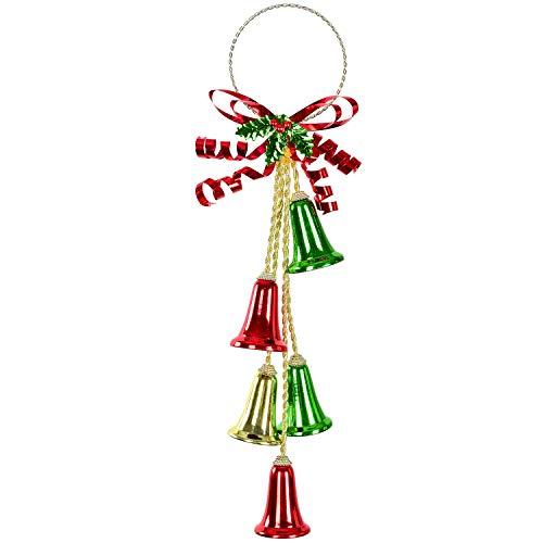 TOUTN Christmas Jingle Bell Green Medal Ribbon, Red Bell Ornament Decor. Christmas Door Golden Hanger Xmas Tree Hanging Decoration