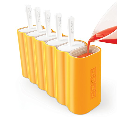 Zoku ZK132 Mod Pops, 6 Classic Popsicle Molds in One Compact Tray With Sticks and Drip-guards, Easy-release, BPA-free