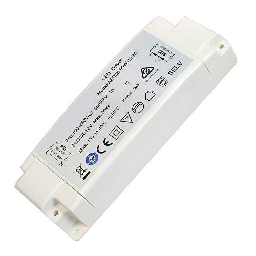 Abishion LED Transformador 36W,LED Driver Fuente de alimentación AC240V a DC12V para Bombillas LED MR16 MR11 G4,1 Paquete.